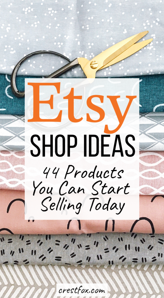 Etsy shop ideas - 44 products you can start selling today. Have you been wanting to start an Etsy business? Not sure what to sell? Check out my list of 44 DIY products you can sell - each one includes a tutorial and example listing!