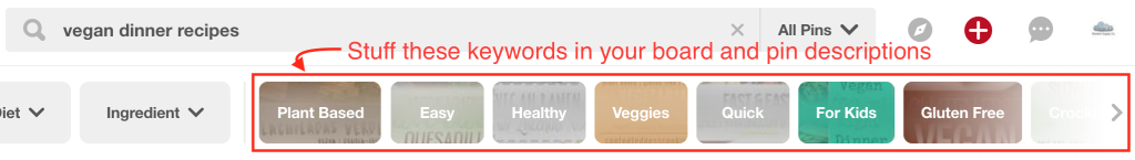 pinterest suggested keywords in search bar