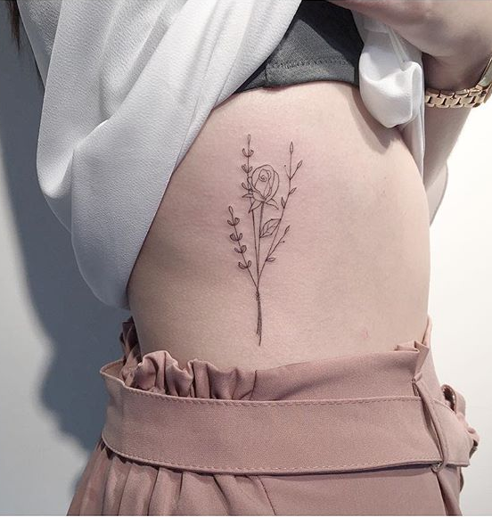 Flowers Rib Tattoo