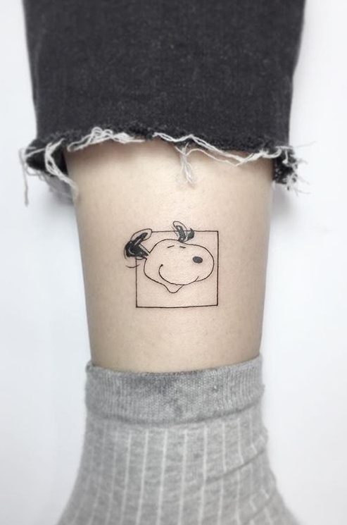 Snoopy Leg Tattoo
