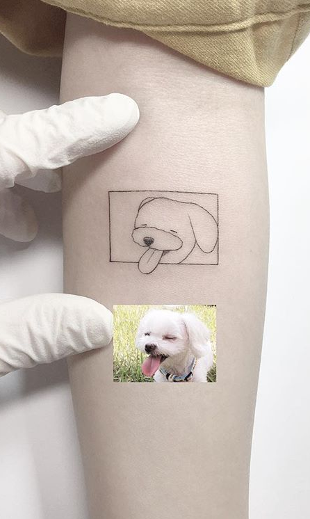 Minimalist Pet Dog Portrait Arm Tattoo