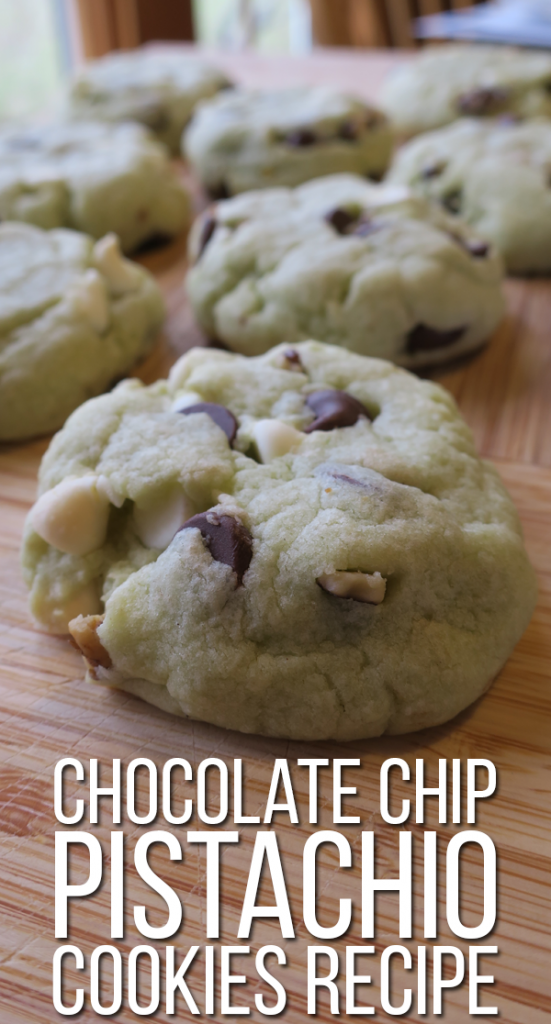 Pistachio pudding cookies with chocolate chips, white chocolate chips, and walnuts. Check out the recipe from Crestfox!