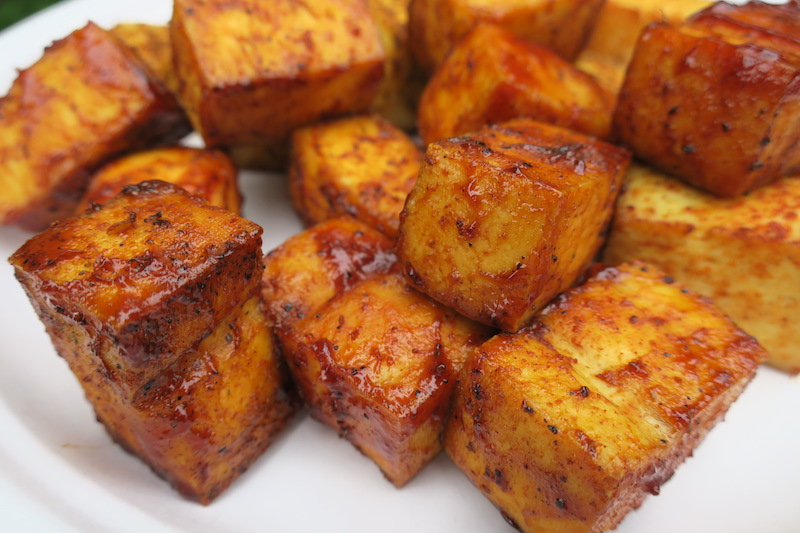 Healthy smoked tofu burnt ends recipe