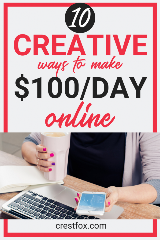 10 ways to make 100 dollars a day pin for pinterest