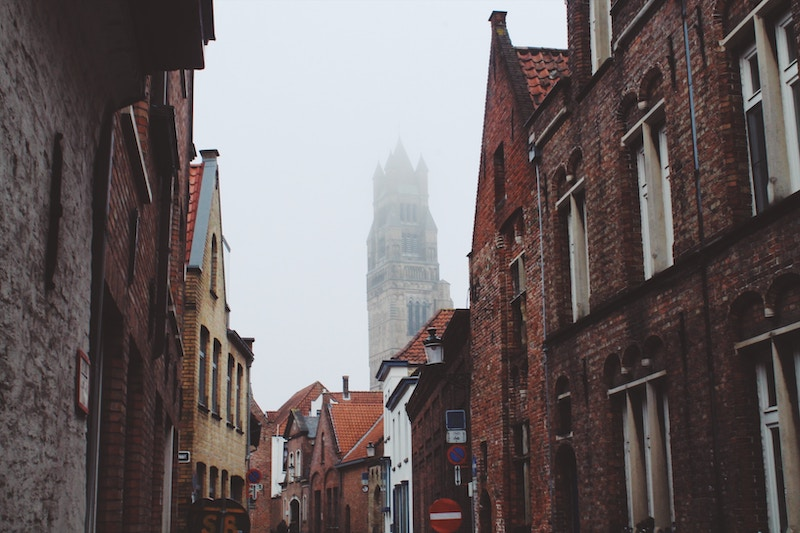 Bruges, Belgium on a foggy day