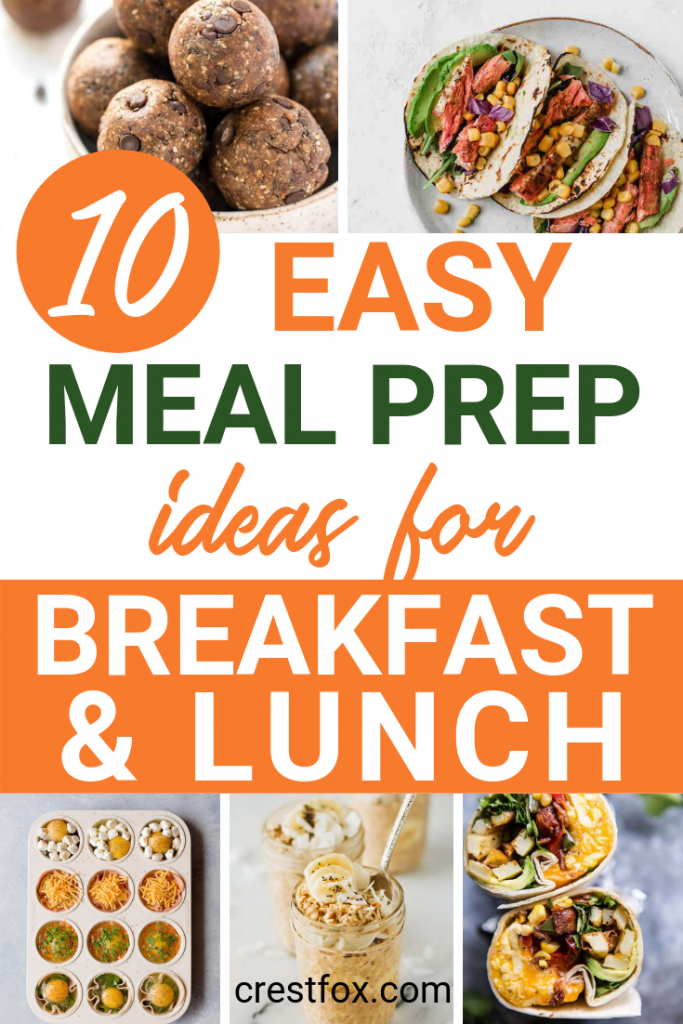 10 easy meal prep ideas for breakfast and lunch. Plan out your week with these (mostly) healthy meal prep recipes.