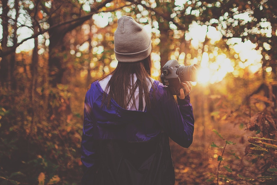 photographer in forest during golden hour of light