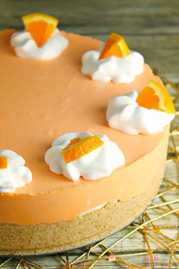 No-Bake Orange Creamsicle Cheesecake by Love Bakes Good Cakes
