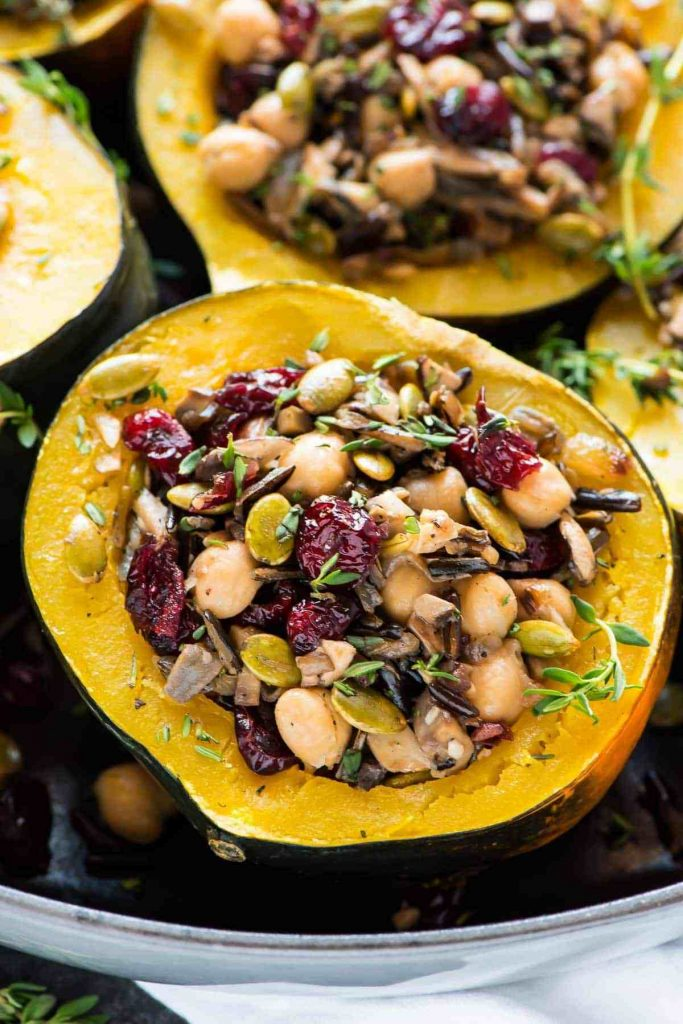 acorn squash stuffed with cranberries, wild rice, and chickpeas